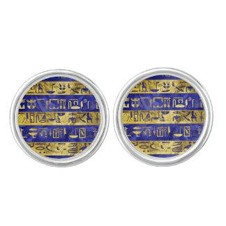 Golden Egyptian  hieroglyphs pattern blue stone Cufflinks