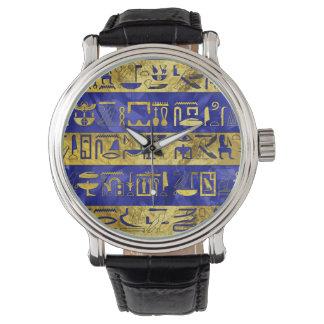 Golden Egyptian  hieroglyphs pattern blue stone Watch