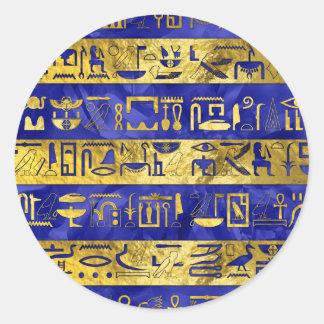 Golden Egyptian  hieroglyphs pattern Classic Round Sticker