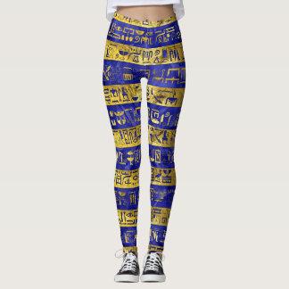 Golden Egyptian hieroglyphs pattern on  blue Leggings