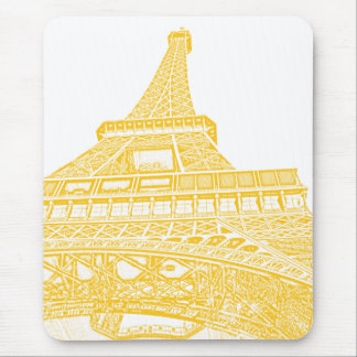 Golden Eiffel Tower Design Mouse Pad