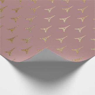 Golden Eiffel Tower Paris Mauve Lilac Blush Pink Wrapping Paper
