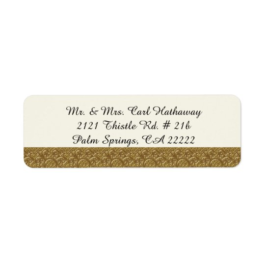 Golden Elegance Custom Return Address Label