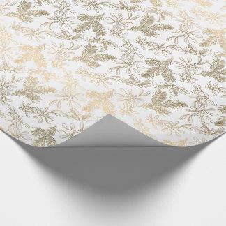 Golden Elegance Engraved Holly, Pine and Mistletoe