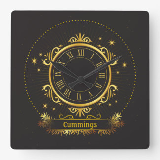 Golden Elegance Personalized Name Sq. Wall Clock