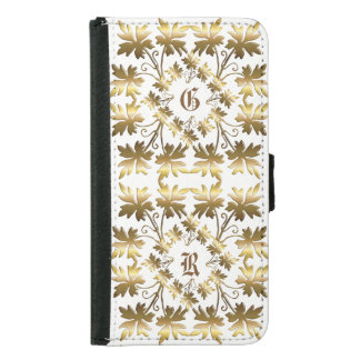 Golden element with leaves. Monogram. Samsung Galaxy S5 Wallet Case