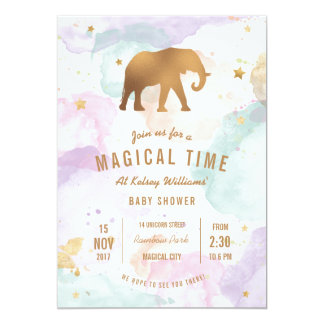 Golden Elephant with Pastel Watercolor Baby Shower Card