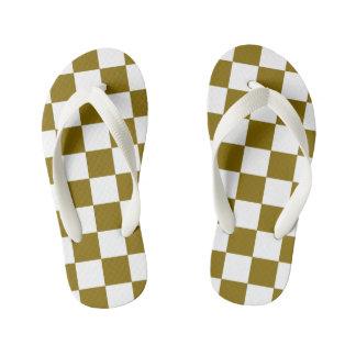 Golden Elm Checkerboard Patterned Kid's Flip Flops