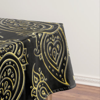 Golden Embossed Paisley pattern on black Tablecloth