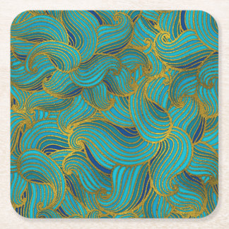 Golden Embossed  Swirl Wave Pattern on Blue Square Paper Coaster