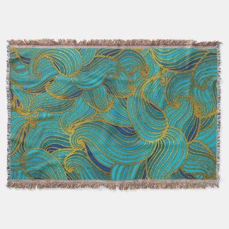 Golden Embossed Swirl Wave Pattern on Blue Throw Blanket