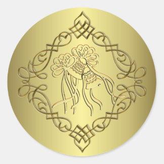 Golden Engraved Look Wedding Classic Round Sticker