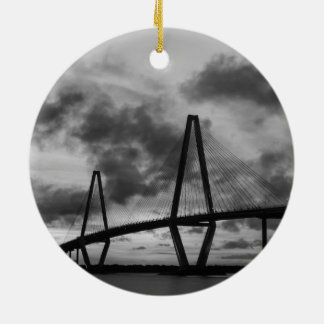 Golden Evening At Arthur Ravenel Grayscale Ceramic Ornament
