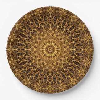 Golden Eye Mandala 9 Inch Paper Plate