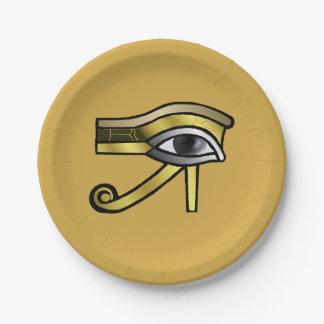 Golden Eye of Horus 7 Inch Paper Plate
