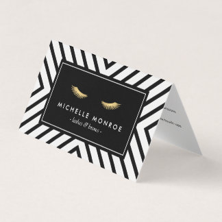 Golden Eyelashes Mod Pattern Salon Aftercare Business Card