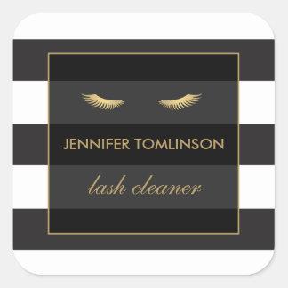 Golden Eyelashes with Black and White Stripes Square Sticker