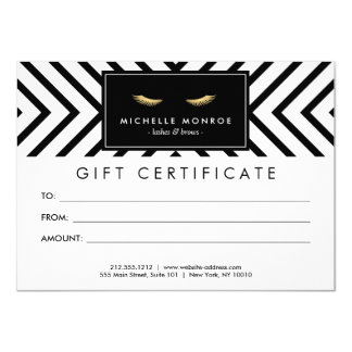 """Golden Eyelashes with Pattern Gift Certificate 4.5"""" X 6.25"""" Invitation Card"""