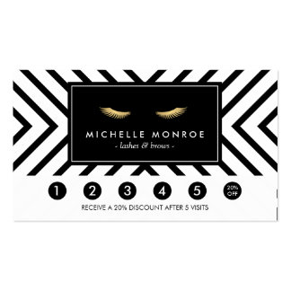 Golden Eyelashes with Pattern Loyalty Card Business Card