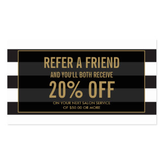 Golden Eyelashes with Stripes Referral Card Business Card