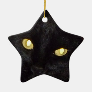 Golden eyes ceramic star ornament