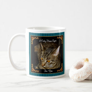 Golden Eyes Teal Stripes Coffee Mug