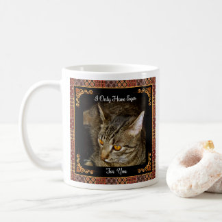 Golden Eyes Wood Marquetry Coffee Mug