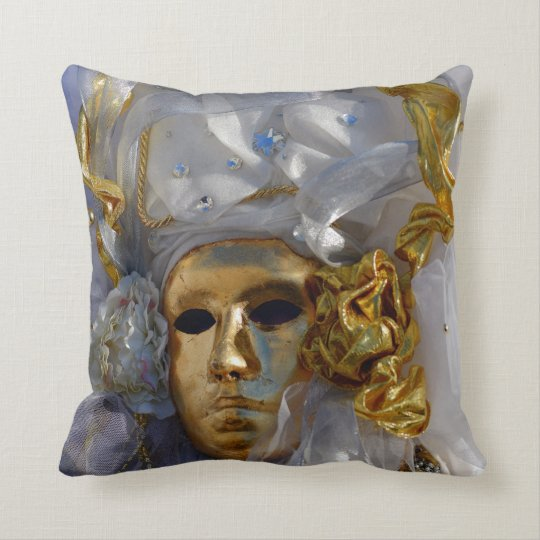 Golden Face Throw Pillow