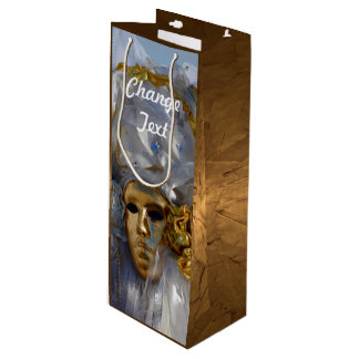 Golden Face Wine Gift Bag