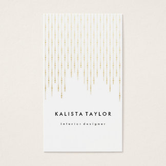 Golden fall confetti business card