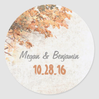 Golden Fall Tree Leaves Rustic Wedding Classic Round Sticker