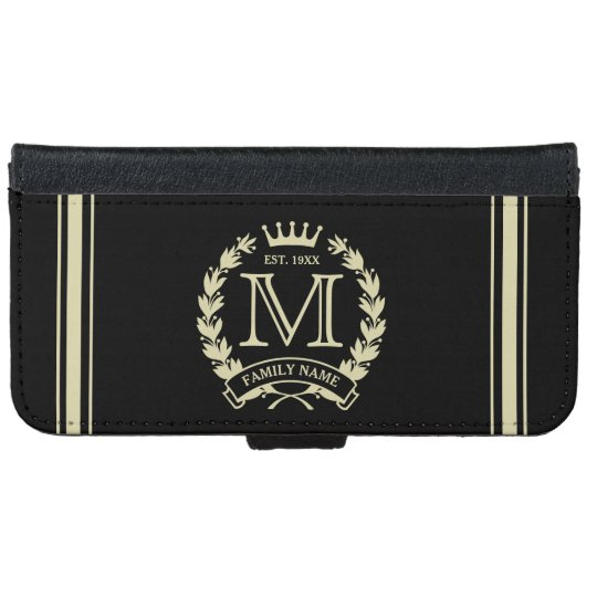 Golden Family Name & Monogram Logo Dark Wallet