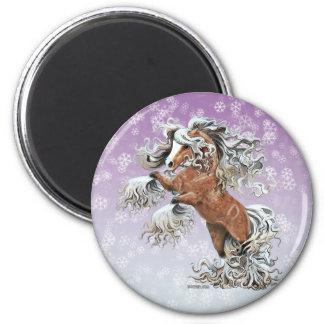 Golden Fantasy Horse 2 Inch Round Magnet