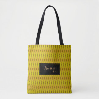 Golden Fashion Print Tote Bag