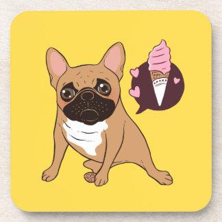 Golden Fawn French Bulldog wants an ice cream Coaster