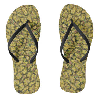 Golden Feather Flip Flops