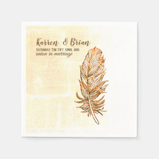 Golden Feather  Wedding  Paper Napkins