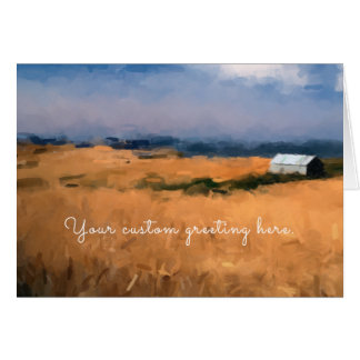 Golden Field and Barn Digital Painting Card