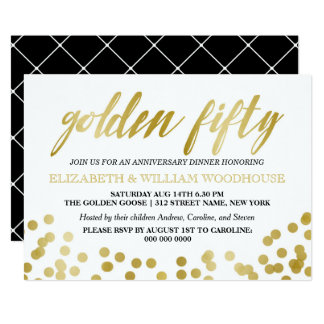 Golden Fifty Confetti | 50th Anniversary Dinner Card
