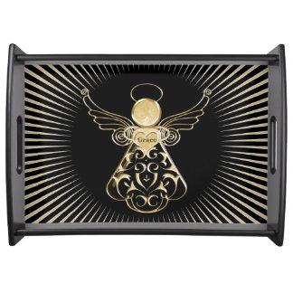 Golden Filigree Christmas Angel of Grace on Black Serving Tray