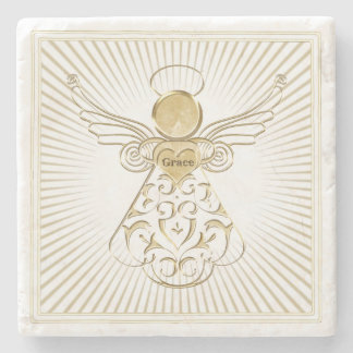 Golden Filigree Christmas Angel of Grace on White Stone Coaster