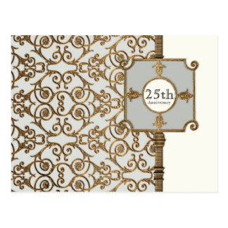 Golden Filigree, Grey - 25th Anniversary Postcard