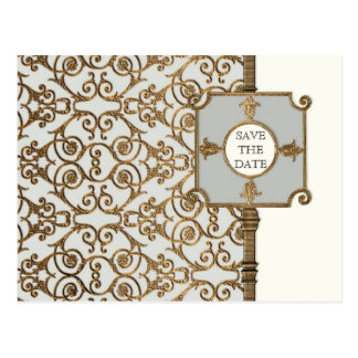 Golden Filigree, Grey - Save the Date Announcement Postcard