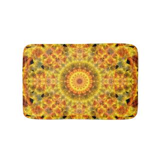 Golden Fire Mandala Bathroom Mat