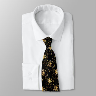 Golden fireworks pattern party tie