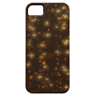 Golden Fishes Confetti Black Bokeh iPhone 5 Case