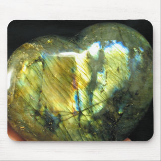 Golden Flash Labradorite Heart Mousepad