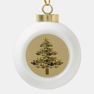 Golden Fleur de Lis Christmas Tree on Champagne Ceramic Ball Ornament