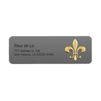 Golden Fleur De Lis Étiquette D'adresse Retour