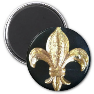 GOLDEN FLEUR DE LIS ON BLACK 2 INCH ROUND MAGNET